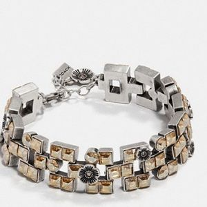 Coach Tea Rose brick Swarovski bracket & watchband